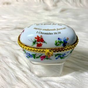 Imperial Porcelain Chintz Trinket Pill Jewelry Box